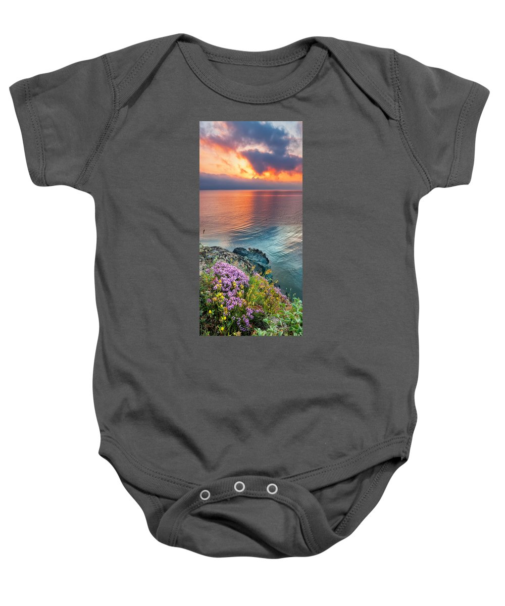 Flowers Baby Onesie featuring the photograph Wild Thyme By The Sea by Evgeni Dinev