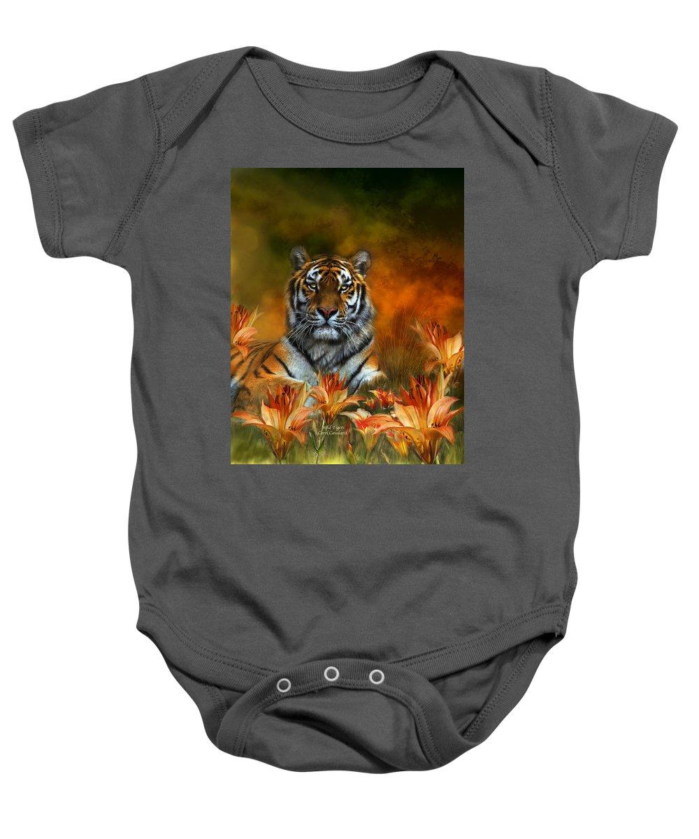 Tiger Baby Onesie featuring the mixed media Wild Tigers by Carol Cavalaris