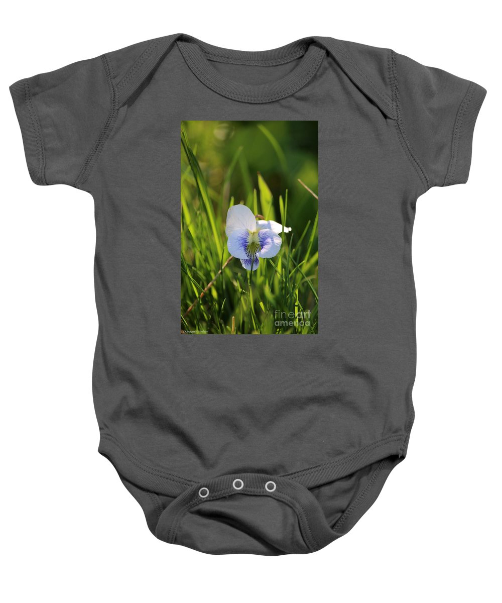 Flower Baby Onesie featuring the photograph Wild Violet by Susan Herber