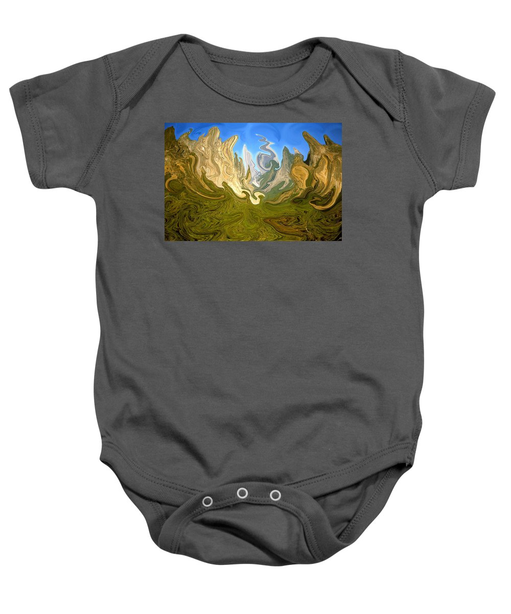 Yosemite Baby Onesie featuring the painting Wild Yosemite - Abstract Modern Art by Peter Potter