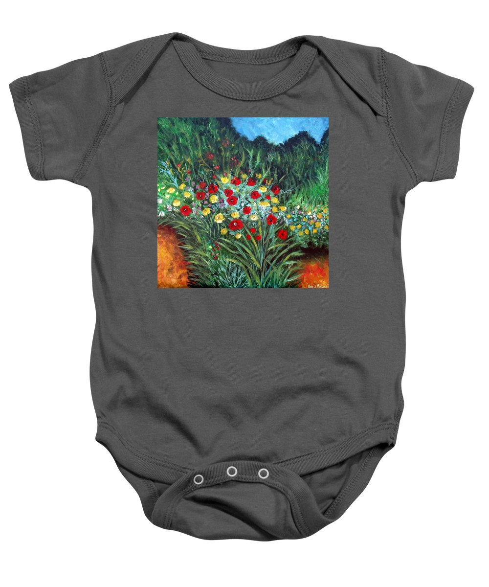 Abstract Baby Onesie featuring the painting Wildflower Garden 1 by Nancy Mueller