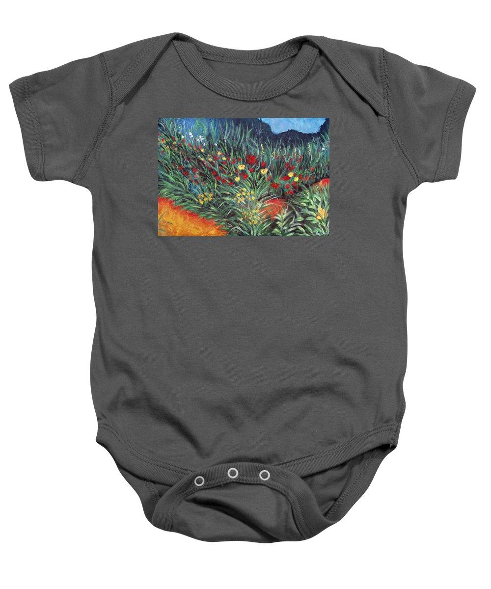 Landscape Baby Onesie featuring the painting Wildflower Garden 2 by Nancy Mueller