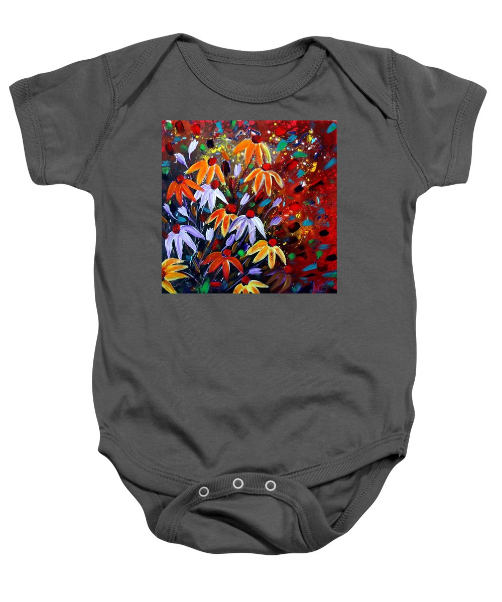 Flowers Baby Onesie featuring the painting Wildflowers At Sunset by Luiza Vizoli