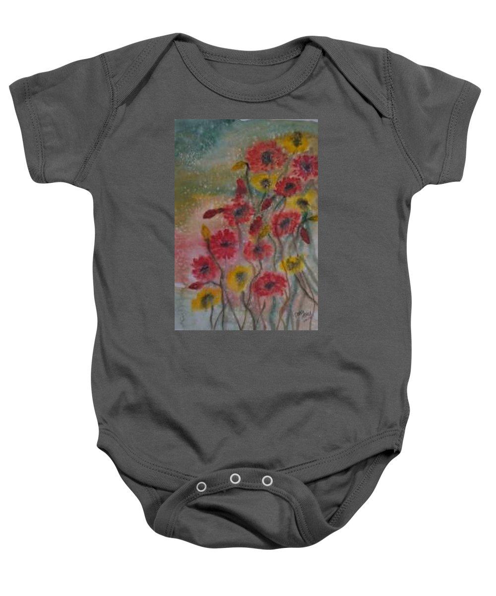 Watercolor Baby Onesie featuring the painting Wildflowers Still Life Modern Print by Derek Mccrea