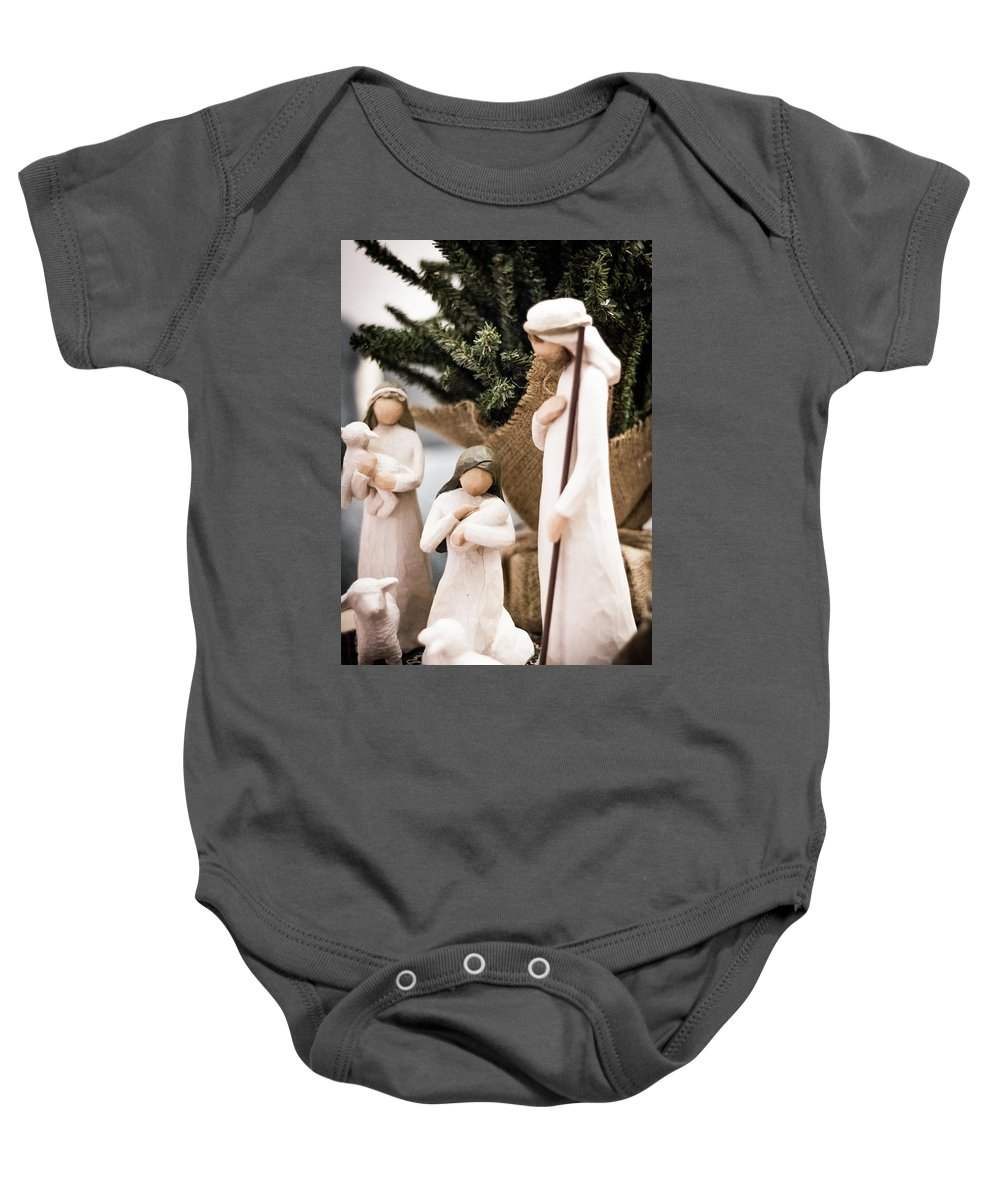 Willow Tree Baby Onesie featuring the photograph Willow Tree Nativity At Christmas by Steven Jones