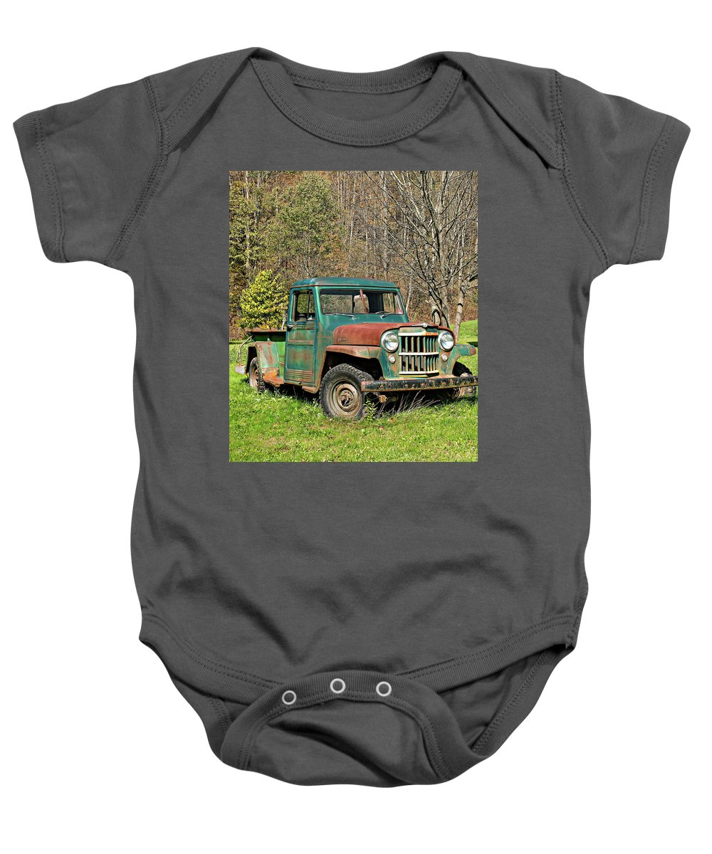 Vehicle Baby Onesie featuring the photograph Willys Jeep Pickup Truck by Steve Harrington