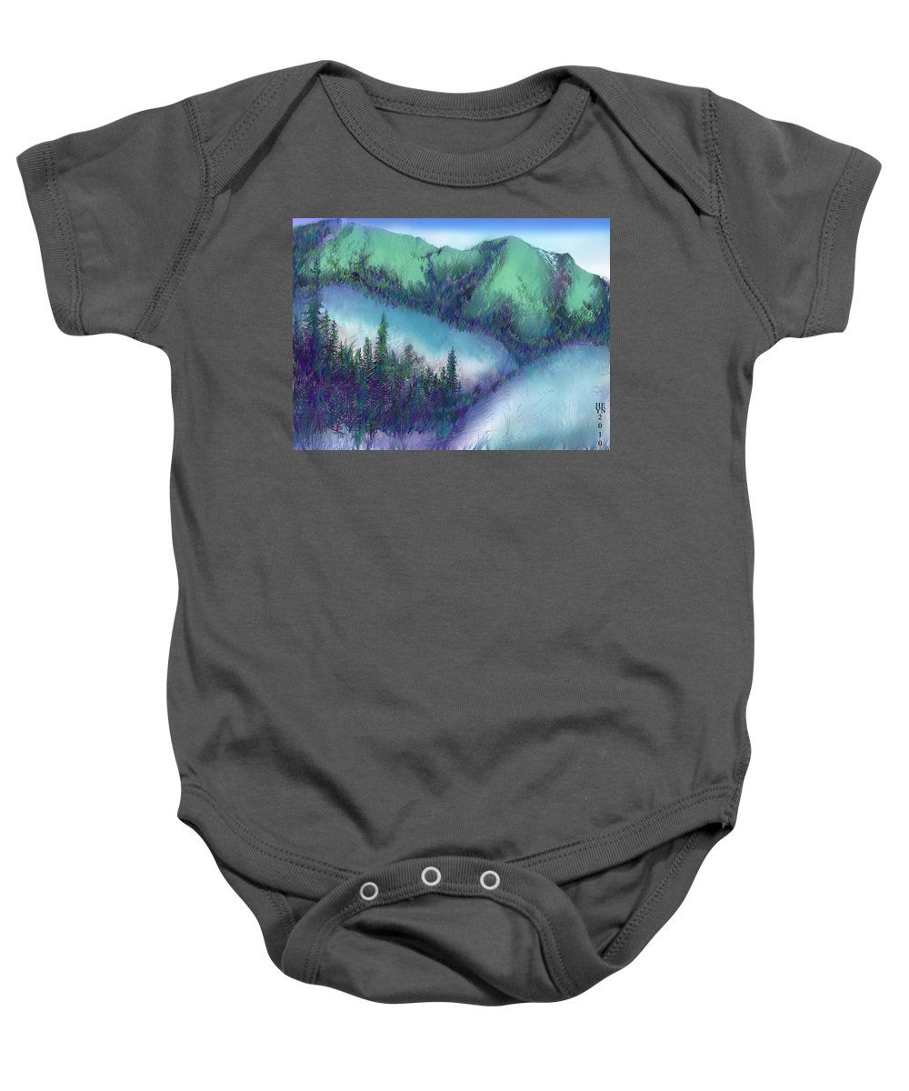 Wilmore Baby Onesie featuring the mixed media Wilmore Wilderness Area by Shirley Heyn