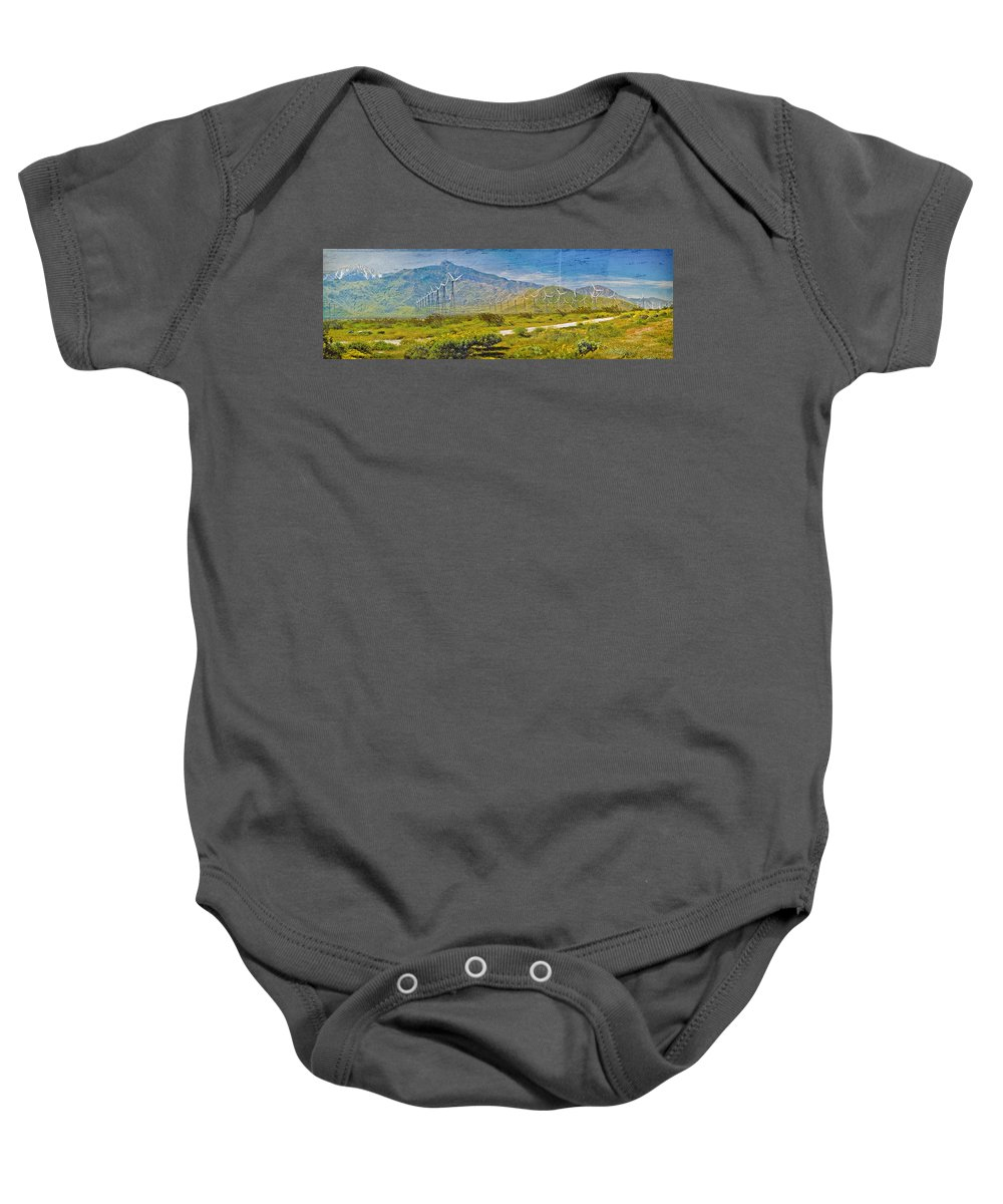 Wind Turbine Farm Palm Springs Ca Baby Onesie featuring the photograph Wind Turbine Farm Palm Springs Ca by David Zanzinger