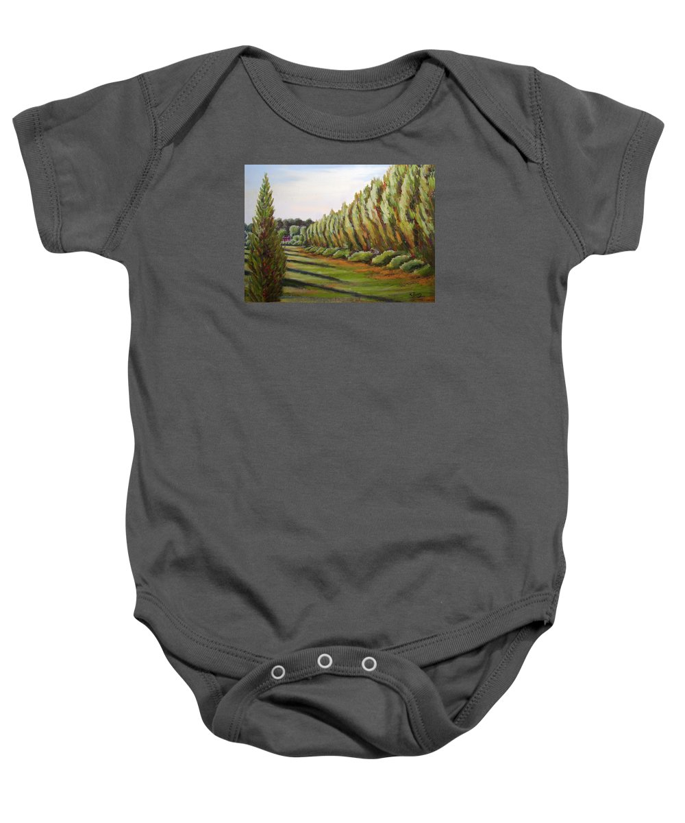 Oil Painting Baby Onesie featuring the painting Windbreak Evening by Karla Beatty