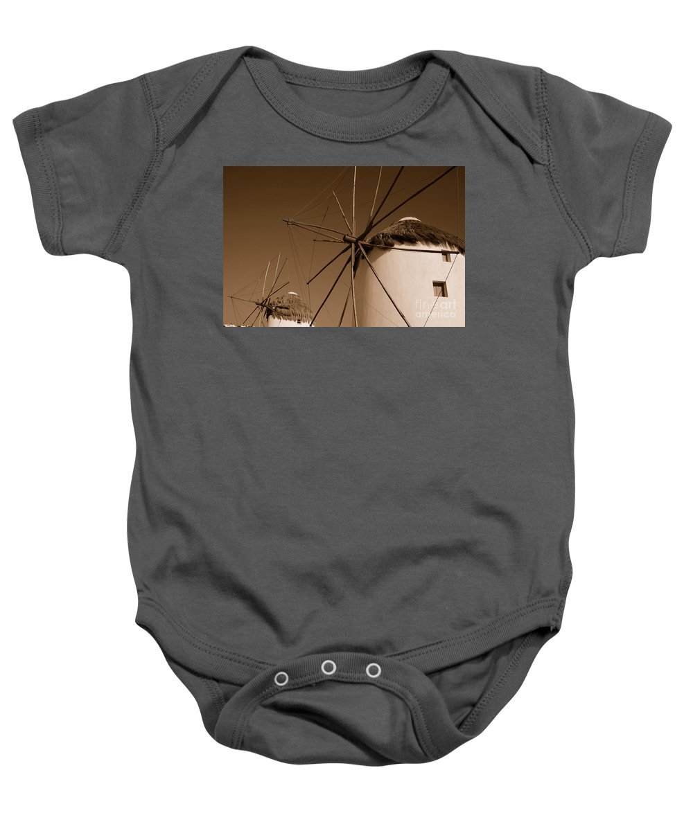 Mykonos Baby Onesie featuring the photograph Windmills In Sepia by Joe Ng