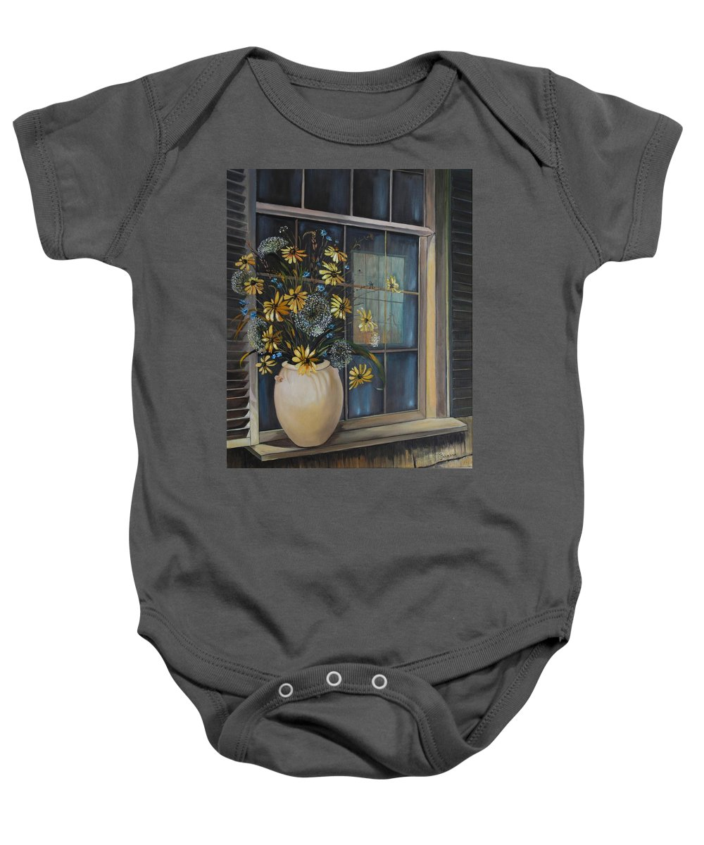 Wild Flowers Baby Onesie featuring the painting Window Dressing - Lmj by Ruth Kamenev