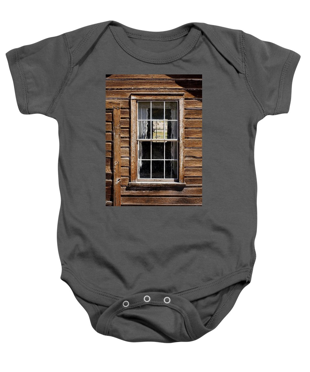 Wood Texture Baby Onesie featuring the photograph Window In A Window by Kelley King
