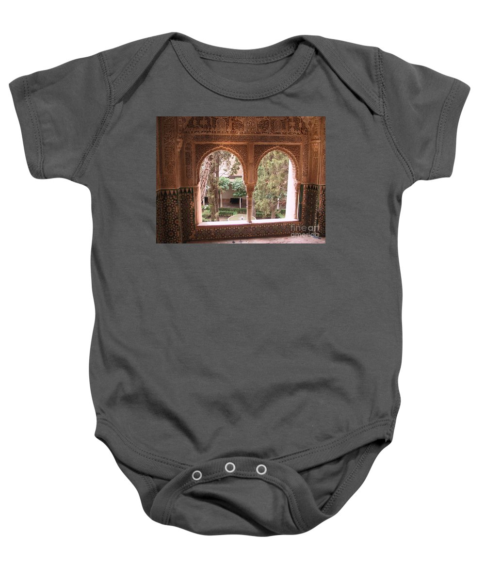 Window Baby Onesie featuring the photograph Window In La Alhambra by Thomas Marchessault