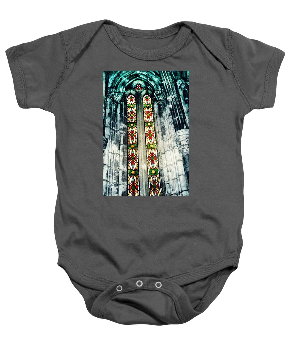 Window Baby Onesie featuring the photograph Window In The Lisbon Cathedral by Sarah Loft