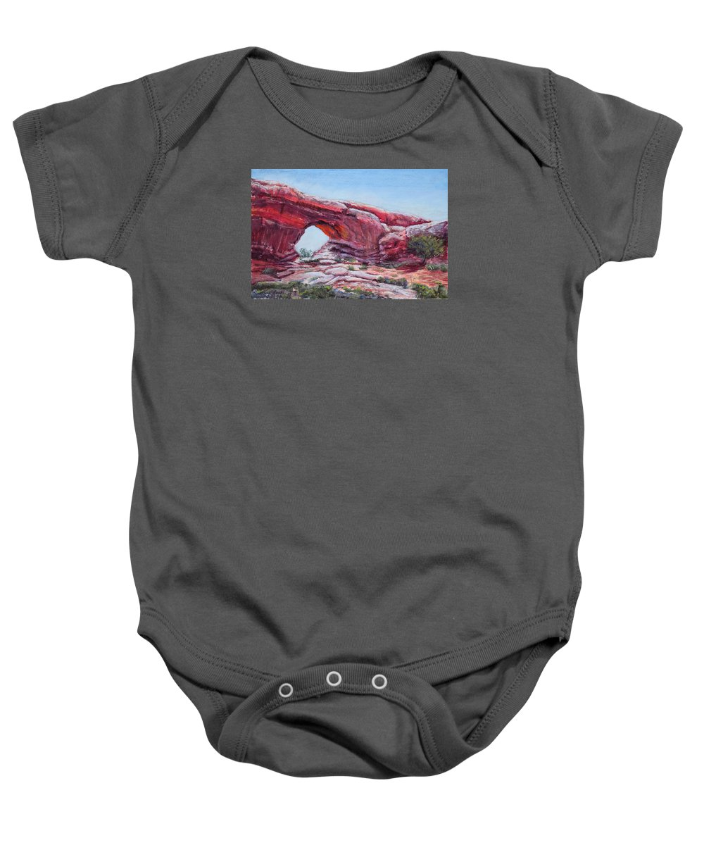 Window Baby Onesie featuring the painting Window by Mary Benke