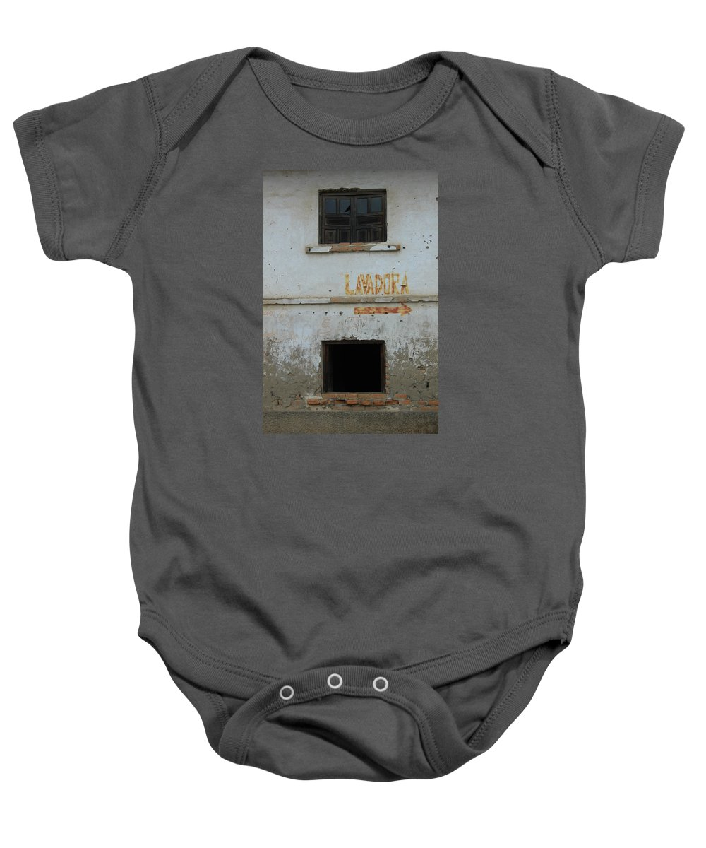 Window Baby Onesie featuring the photograph Windows In The Wall Of An Old Building by Robert Hamm