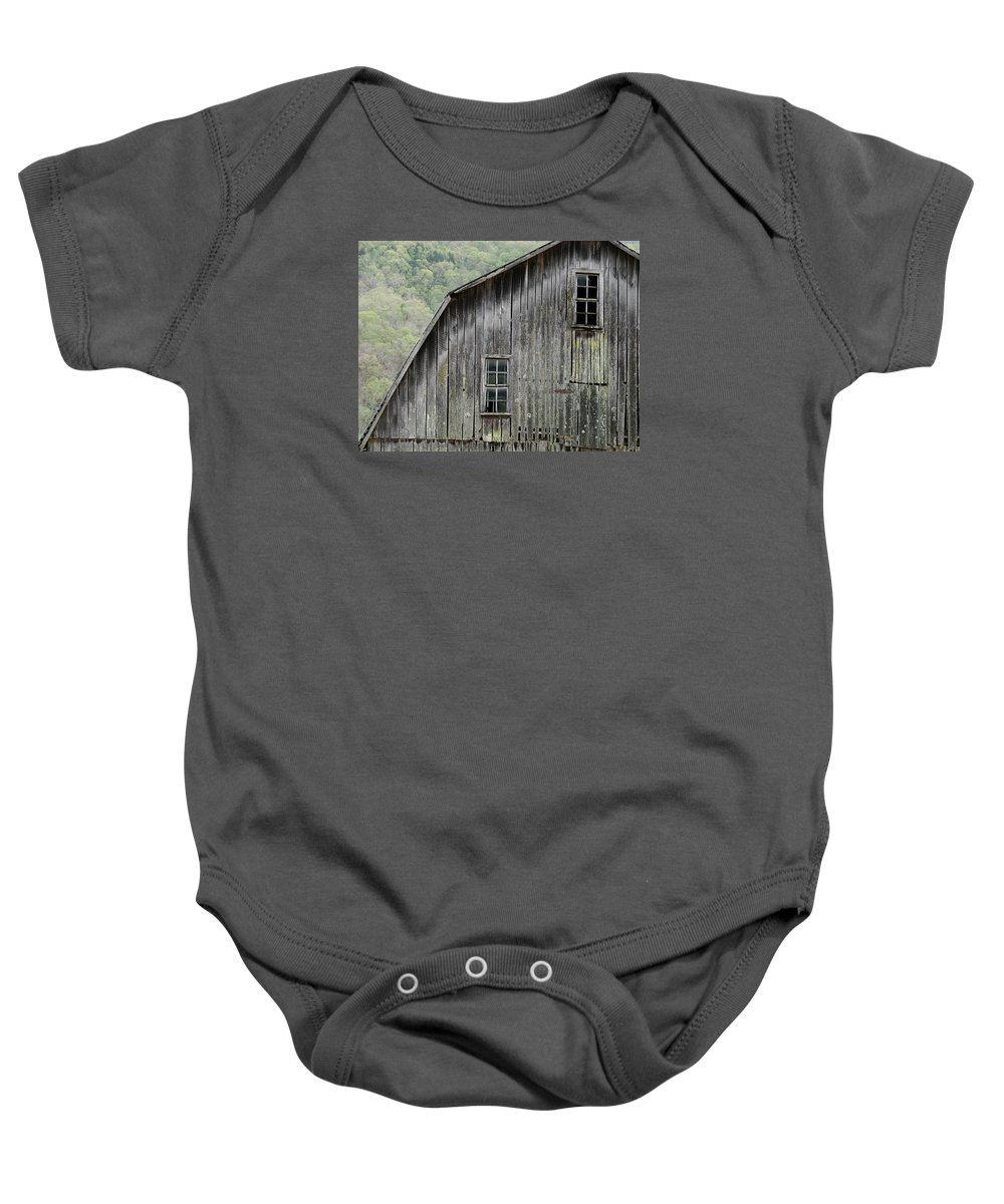 Old Barns Baby Onesie featuring the photograph Windows Of The Past by Mary Halpin