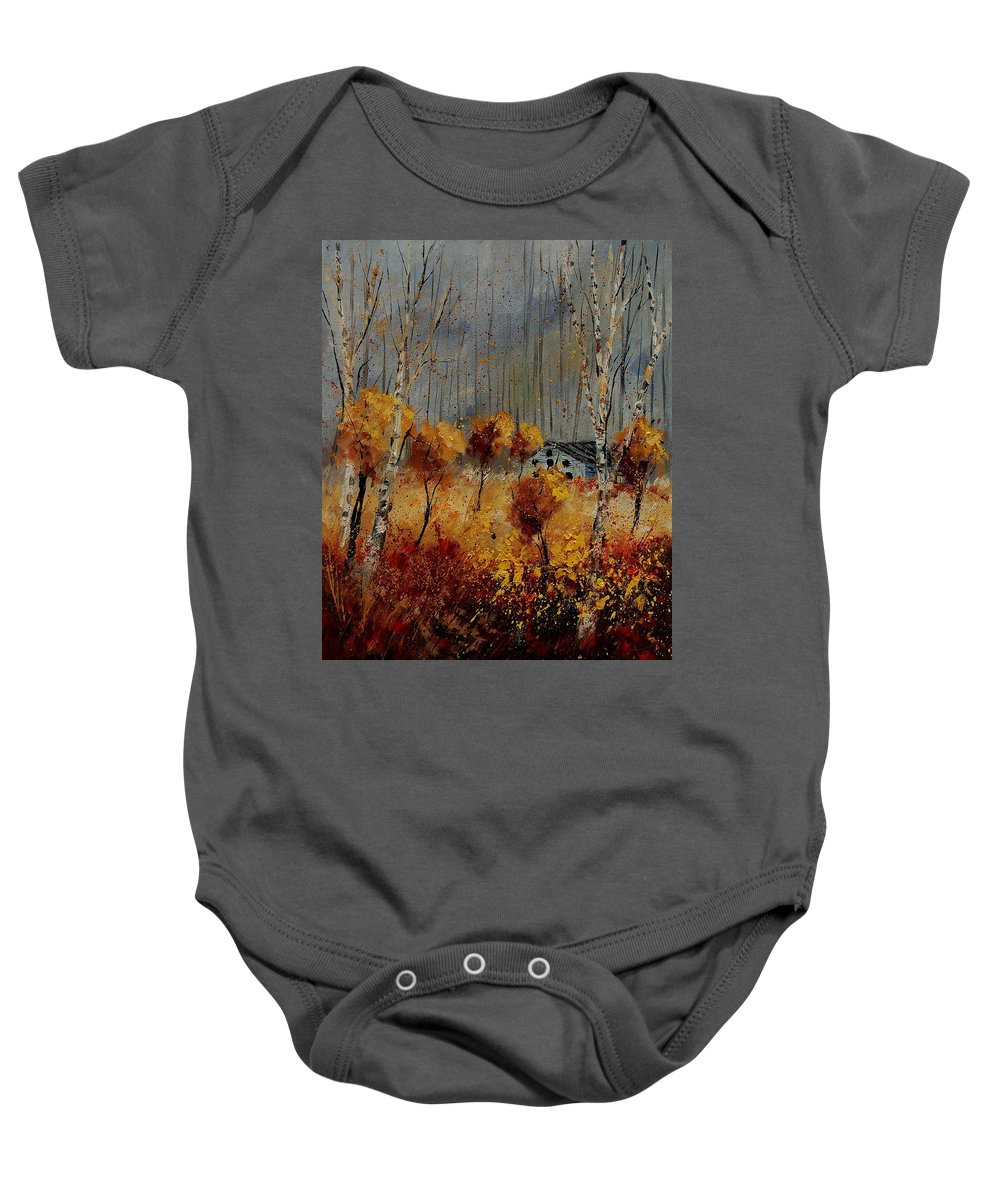 Tree Baby Onesie featuring the painting Windy Autumn Landscape by Pol Ledent