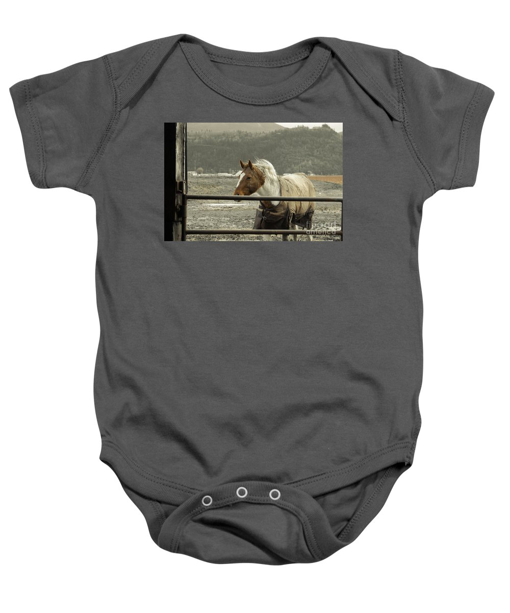 Clay Baby Onesie featuring the photograph Windy In Mane by Clayton Bruster