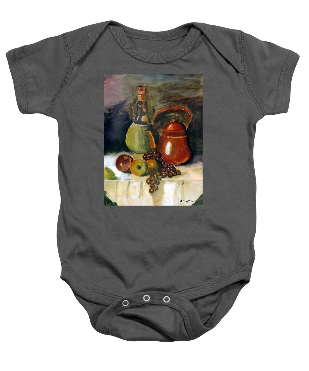 2d Baby Onesie featuring the painting Wine And Fruit by Brian Wallace
