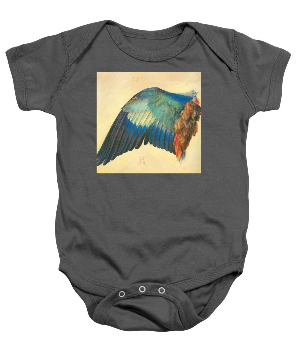 Wing Baby Onesie featuring the painting Wing Of A Blue Roller 1512 by Durer Albrecht