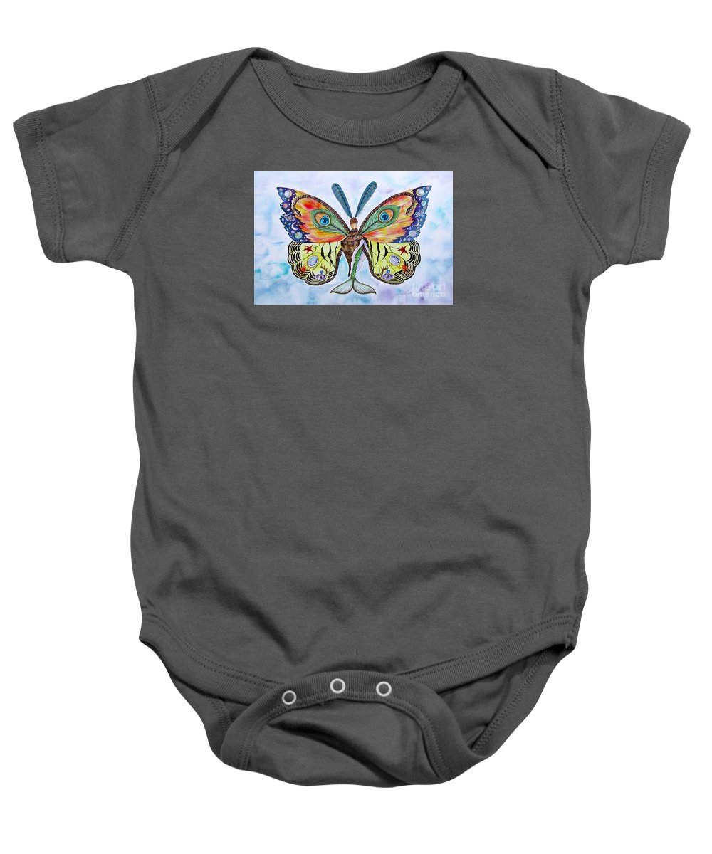 Butterfly Baby Onesie featuring the painting Winged Metamorphosis by Lucy Arnold
