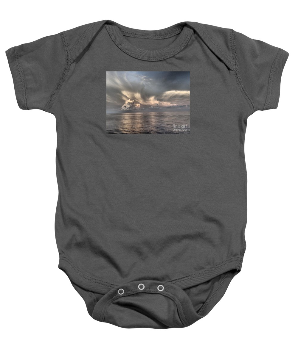 Sky Baby Onesie featuring the photograph Wings Of Dove by Francine Stuart