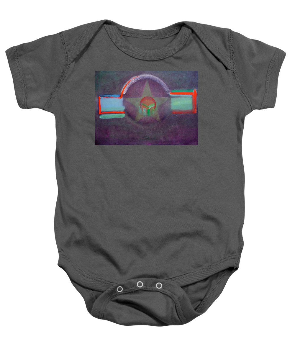 Star Baby Onesie featuring the painting Wings Vermillion  by Charles Stuart