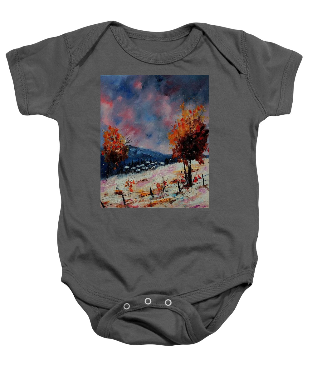 Winter Baby Onesie featuring the painting Winter 560110 by Pol Ledent