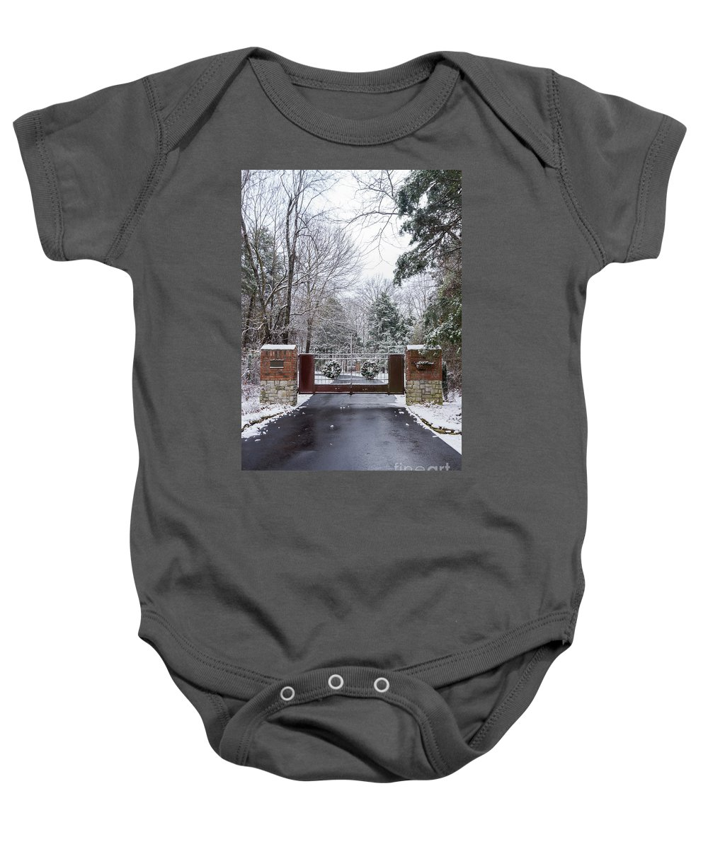 America Baby Onesie featuring the photograph Winter At The Gate by Jennifer White