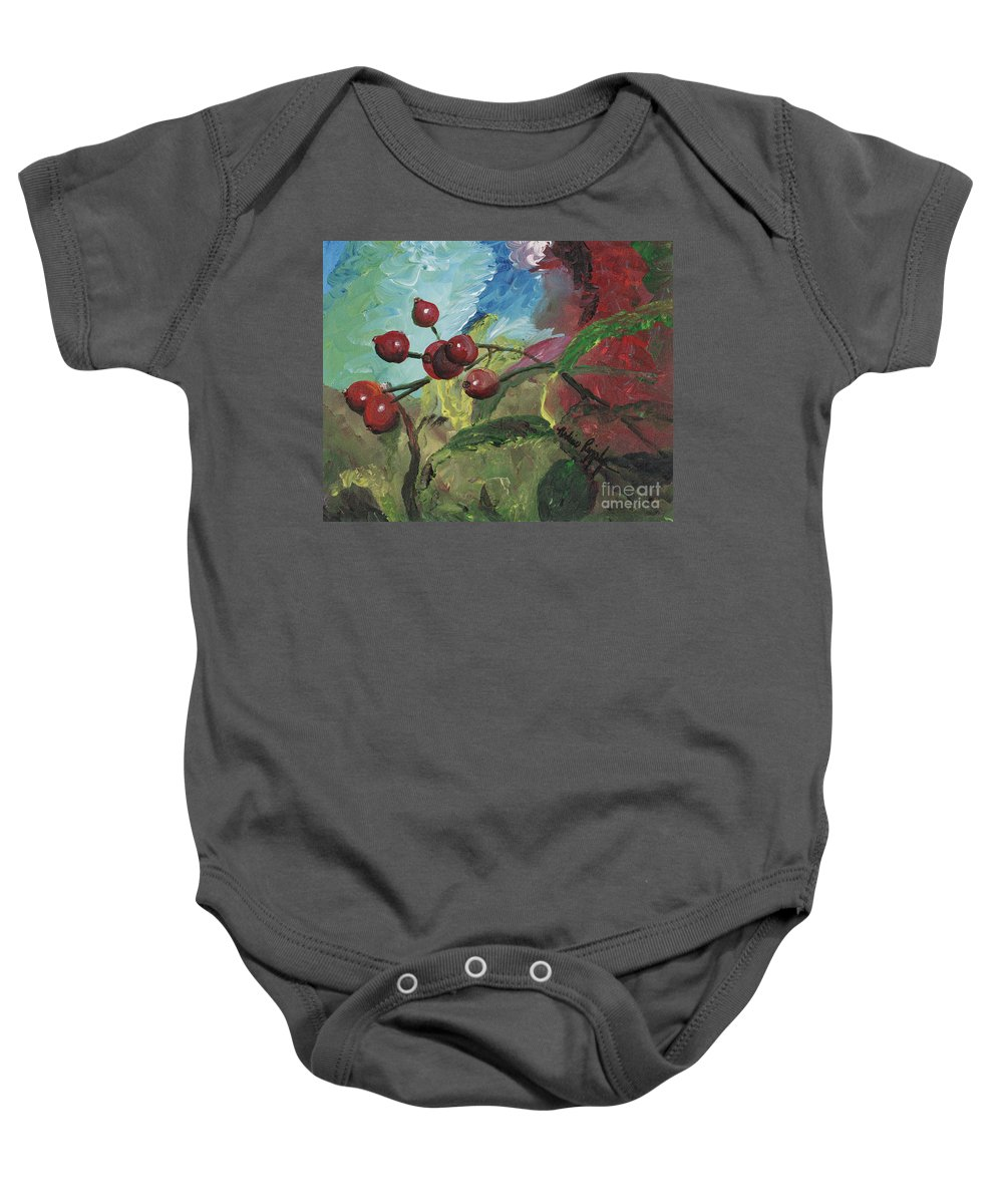 Berries Baby Onesie featuring the painting Winter Berries by Nadine Rippelmeyer