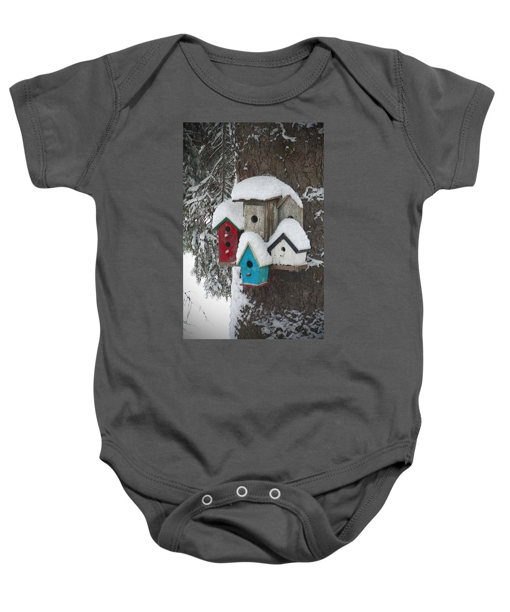 Winter Baby Onesie featuring the photograph Winter Birdhouses by Tim Nyberg