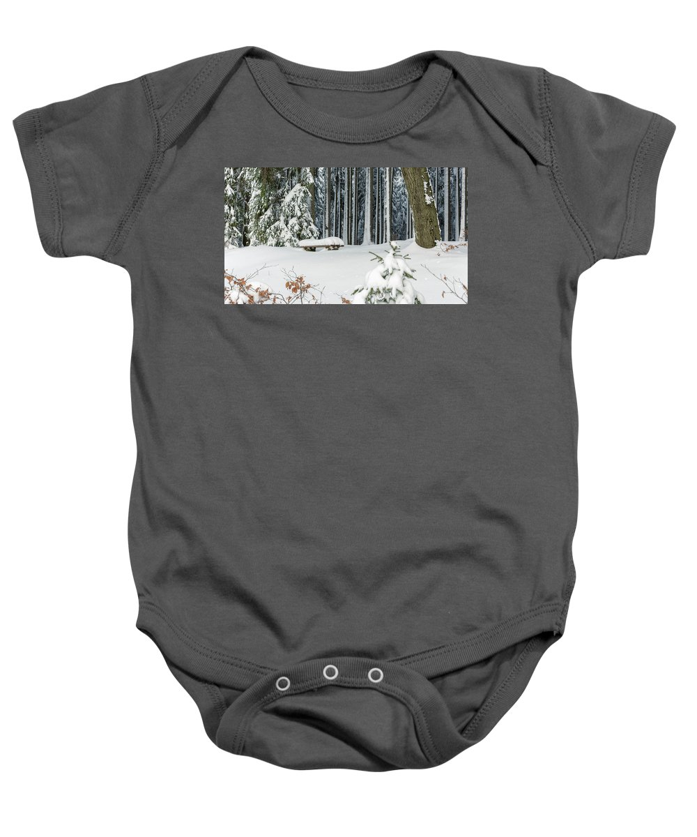 Snow Baby Onesie featuring the photograph Winter Moments In Harz Mountains by Andreas Levi
