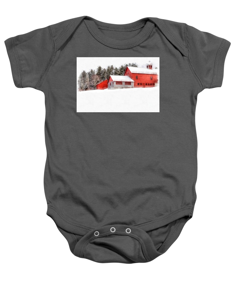 New England Baby Onesie featuring the photograph Winter On The Farm Enfield by Edward Fielding
