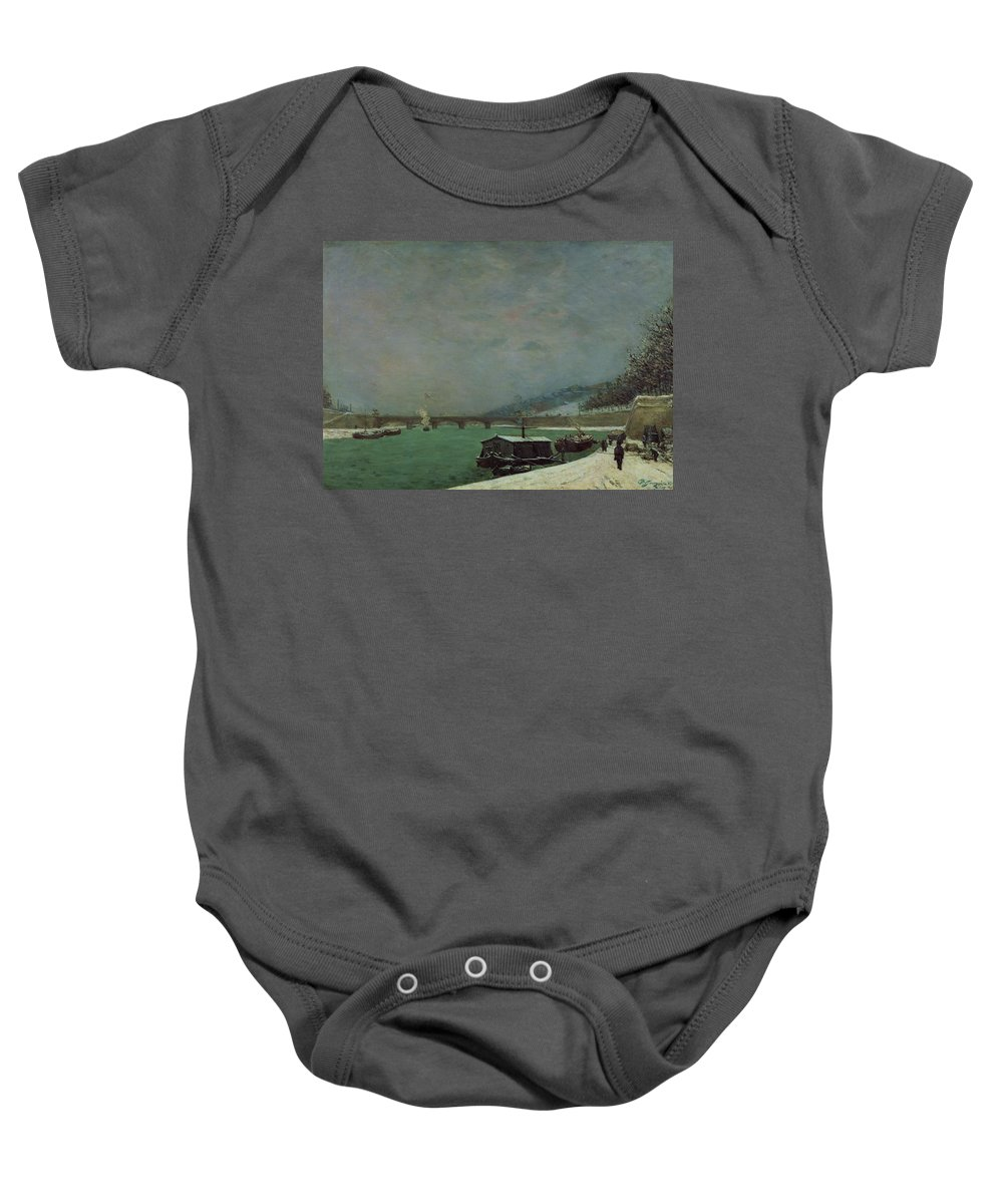 Cold Baby Onesie featuring the painting Winter by Paul Gauguin