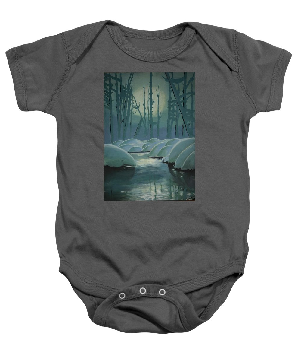 River Baby Onesie featuring the painting Winter Quiet by Jacqueline Athmann