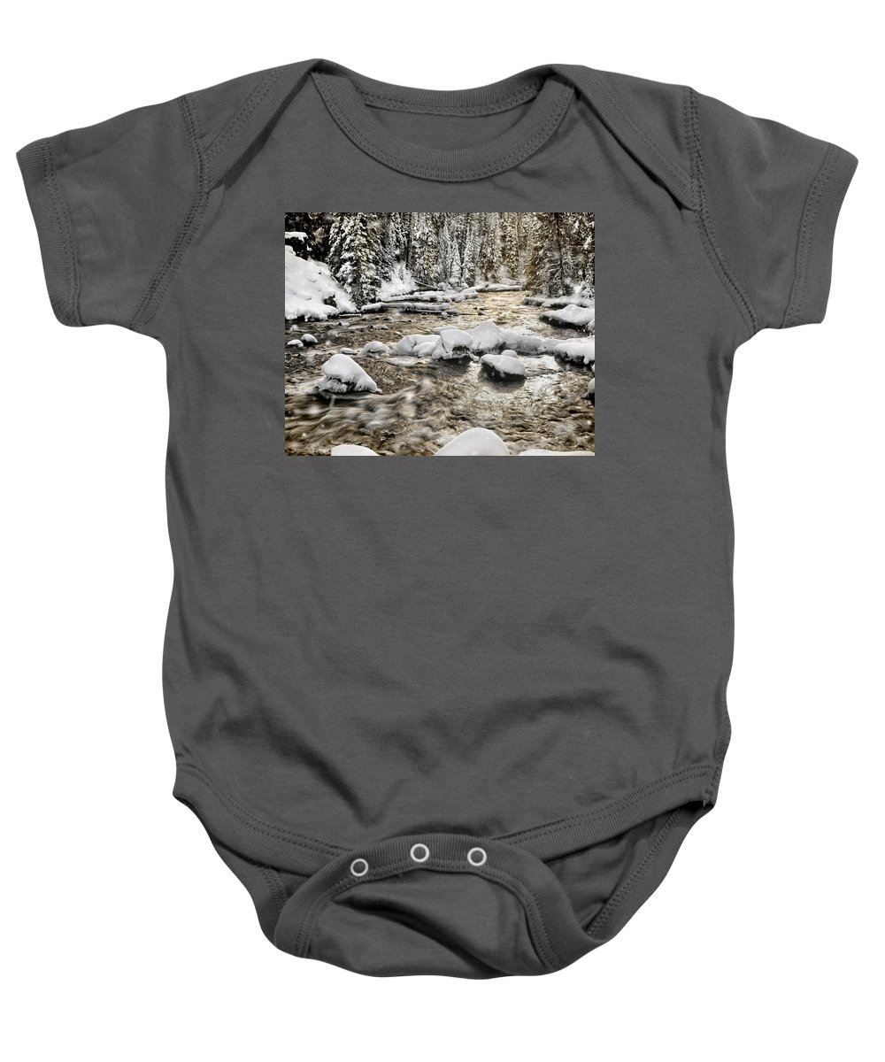 Winter Baby Onesie featuring the photograph Winter River by Leland D Howard