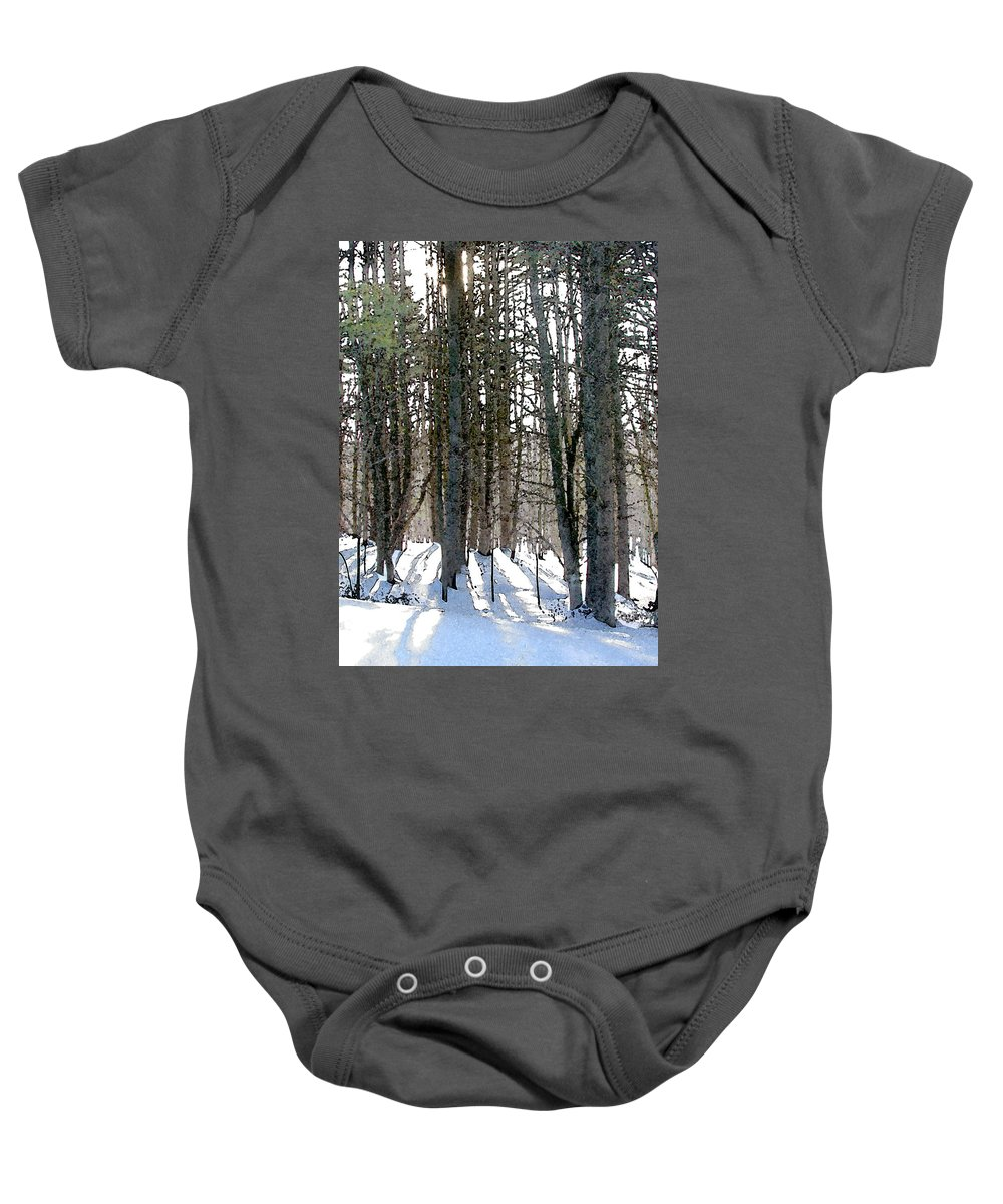Winter Baby Onesie featuring the painting Winter Sun by Paul Sachtleben