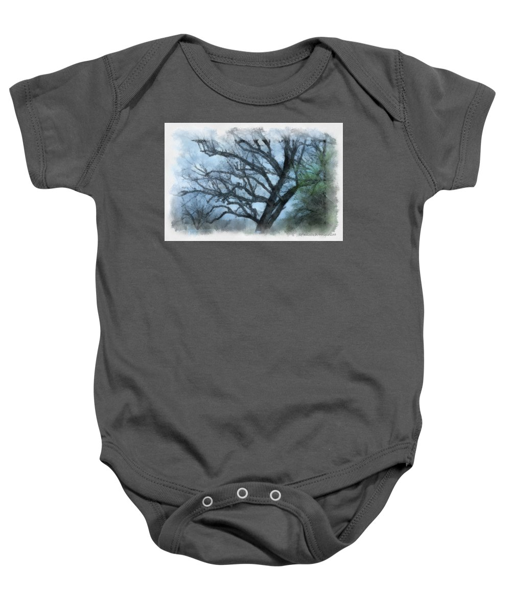 Texas Baby Onesie featuring the photograph Winter Tree by Paulette B Wright