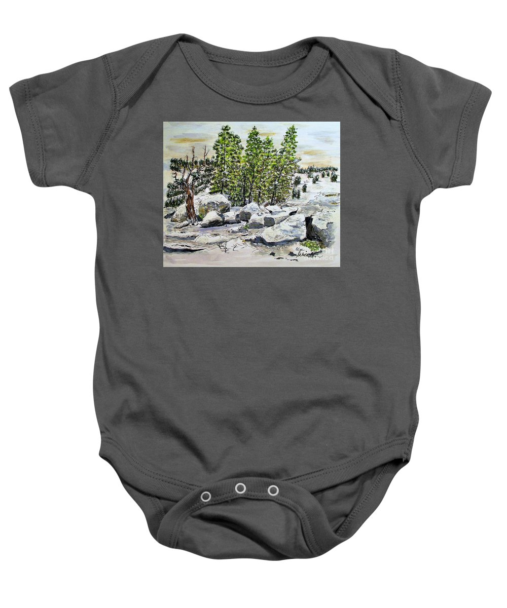 Snow Baby Onesie featuring the painting Winter Trees by Olga Silverman