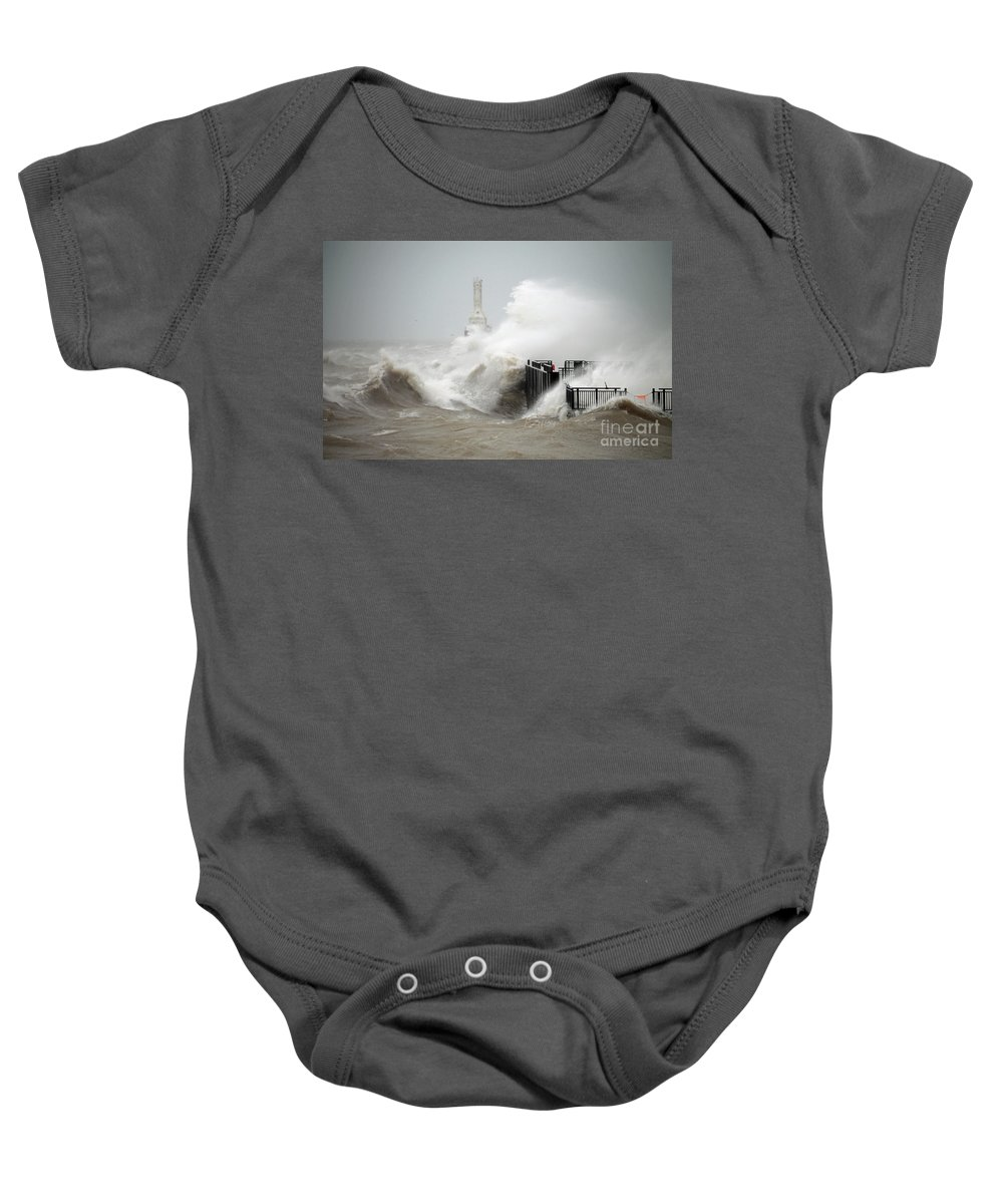 Lighthouse Baby Onesie featuring the photograph Winters Fury In Port by Eric Curtin