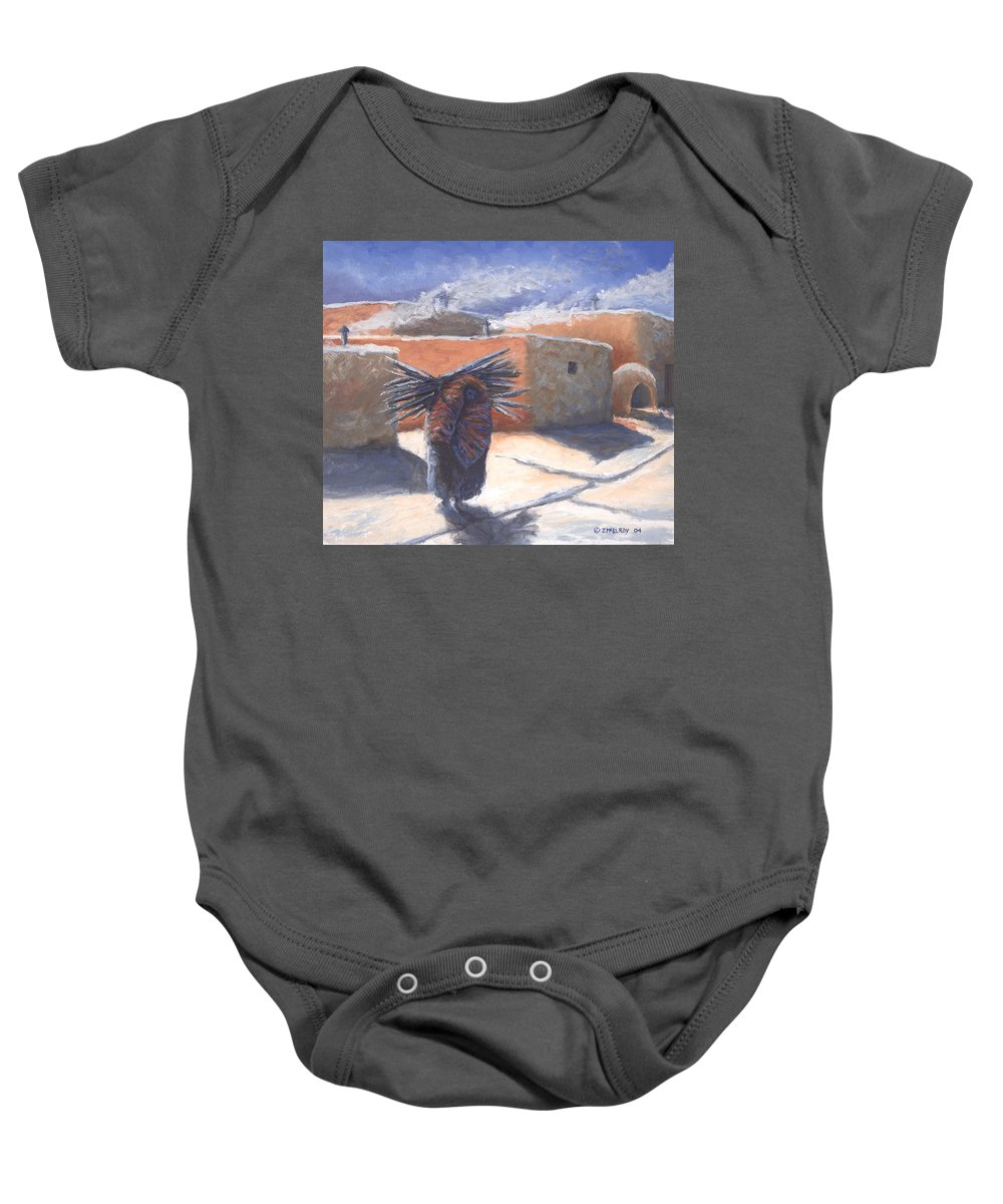 Adobe Baby Onesie featuring the painting Winter's Work by Jerry McElroy