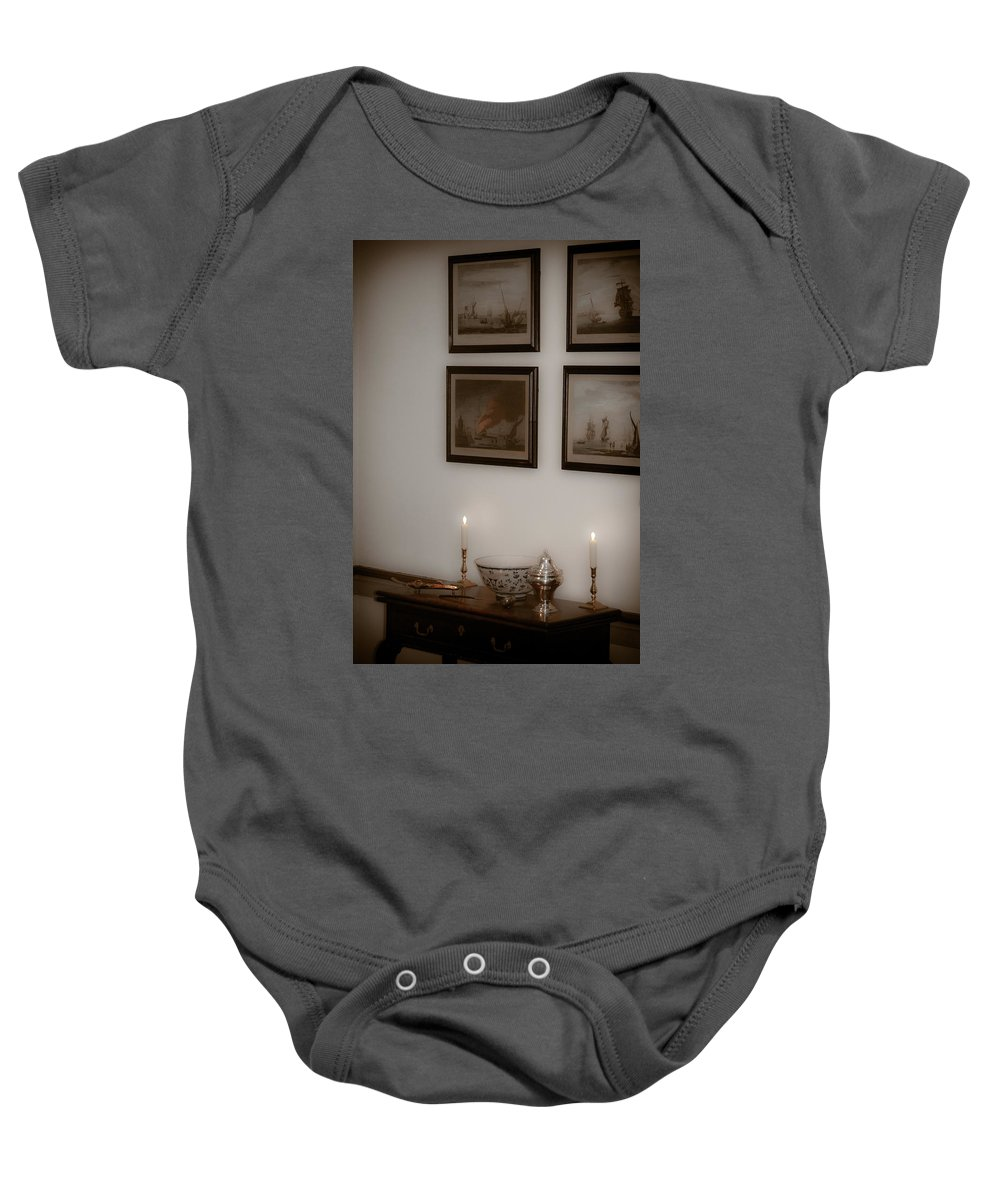 Portrait Baby Onesie featuring the photograph Winterthur By Candlelight by Trish Tritz