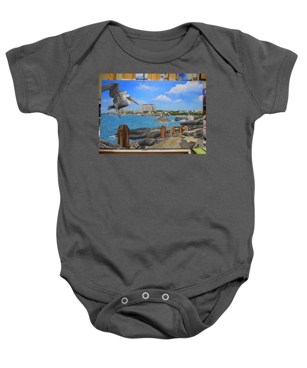 Baby Onesie featuring the painting Wip-pelican 08 by Cindy D Chinn