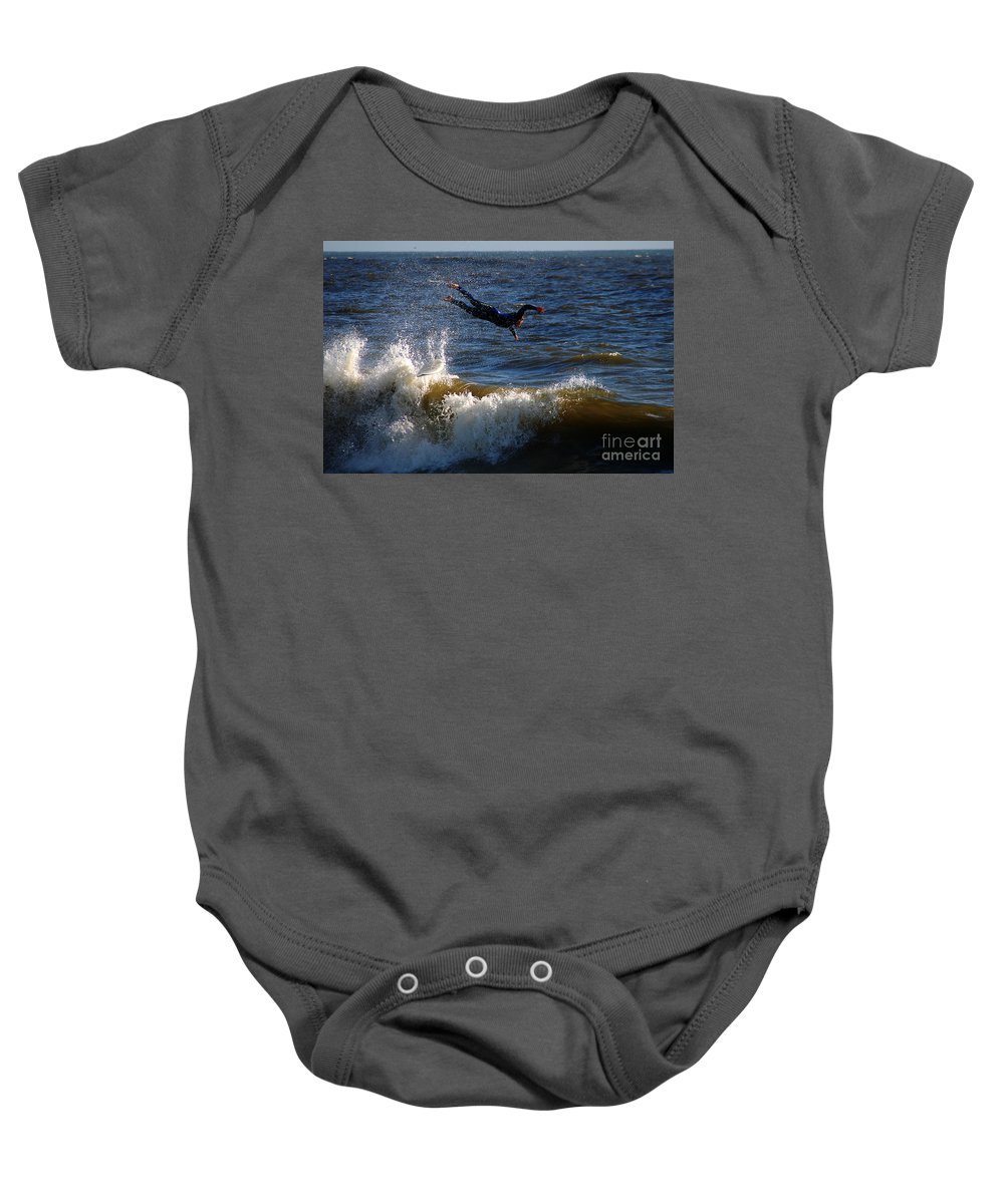 Clay Baby Onesie featuring the photograph Wipe Out by Clayton Bruster