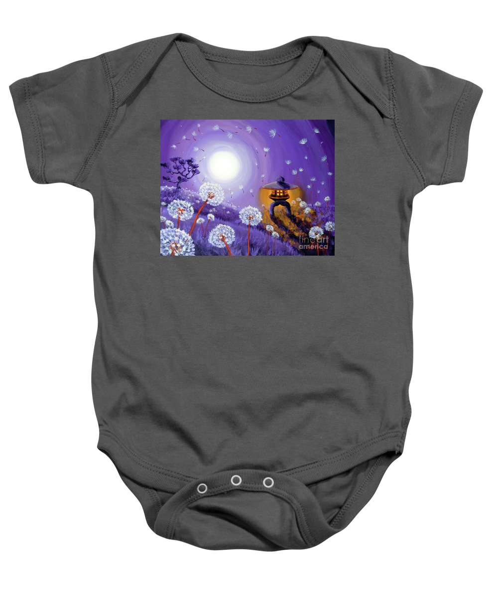 Zen Baby Onesie featuring the painting Wishes By A Stone Lantern by Laura Iverson