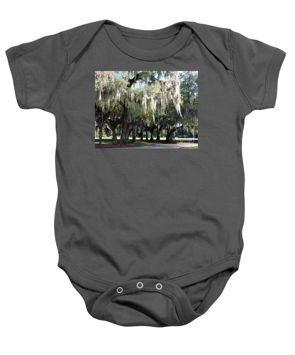 Willows Baby Onesie featuring the photograph Wispy Willows by Charlotte Stevenson