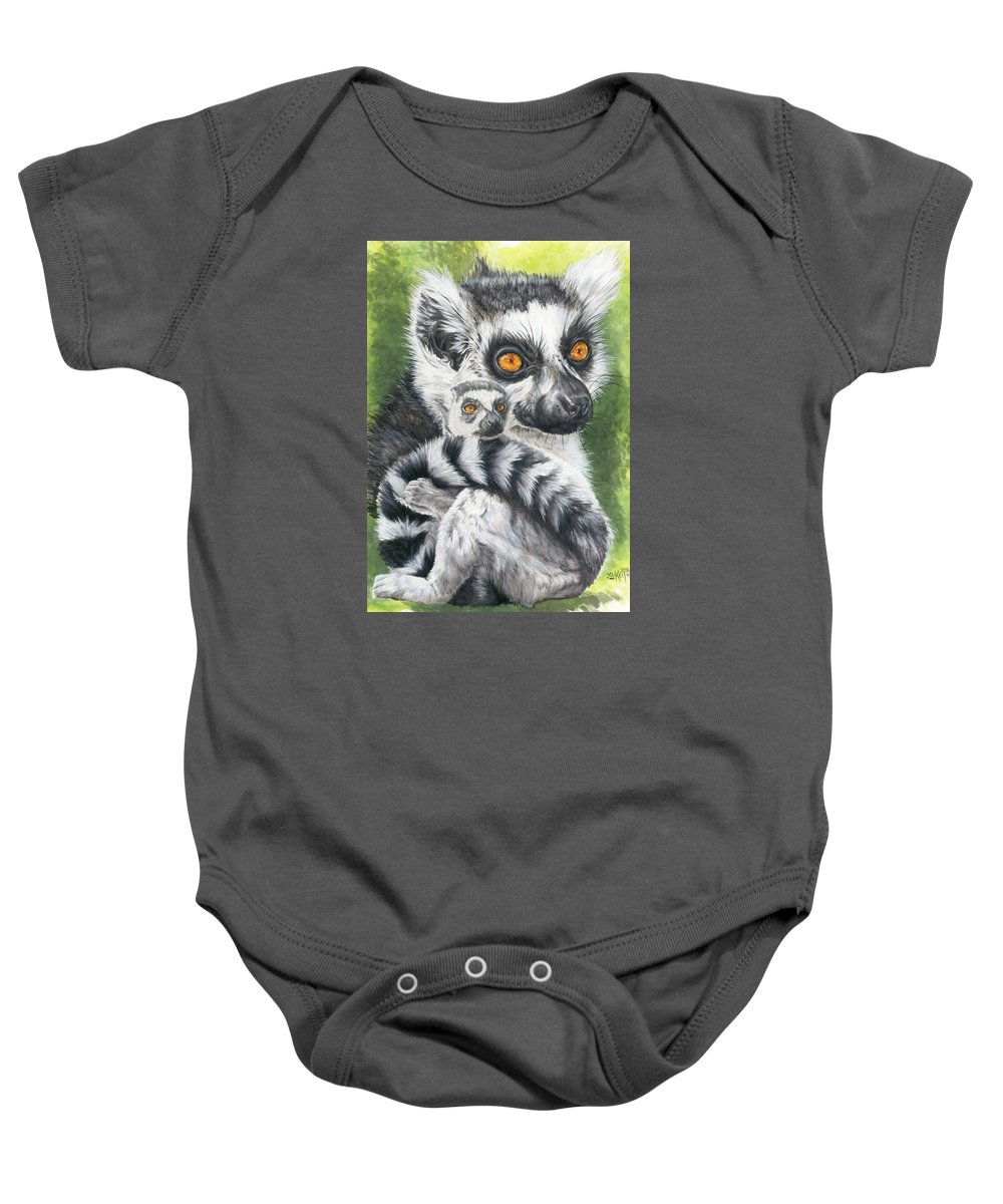 Lemur Baby Onesie featuring the mixed media Wistful by Barbara Keith