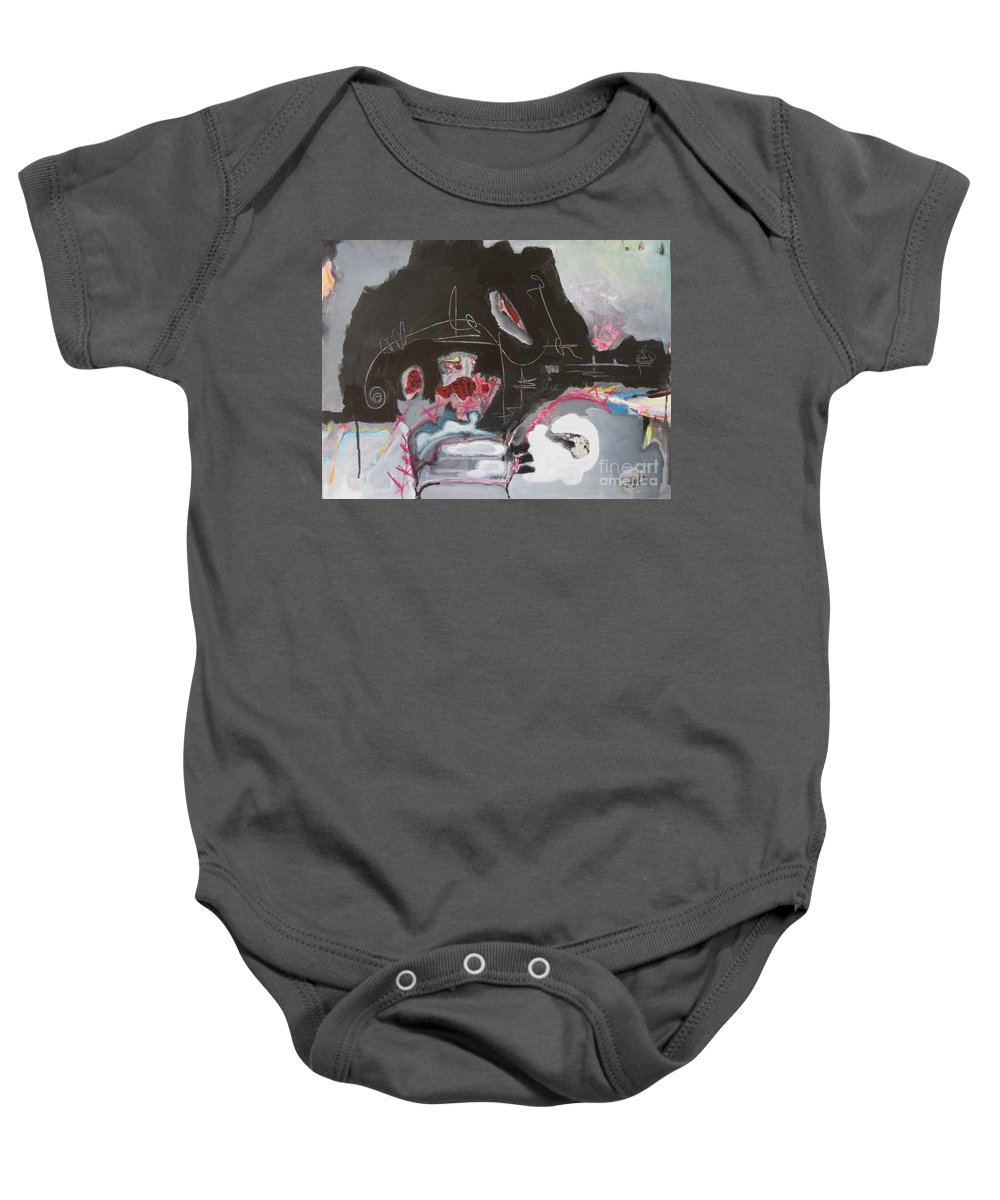 Abstract Paintings Baby Onesie featuring the painting With Little Escape From Life by Seon-Jeong Kim