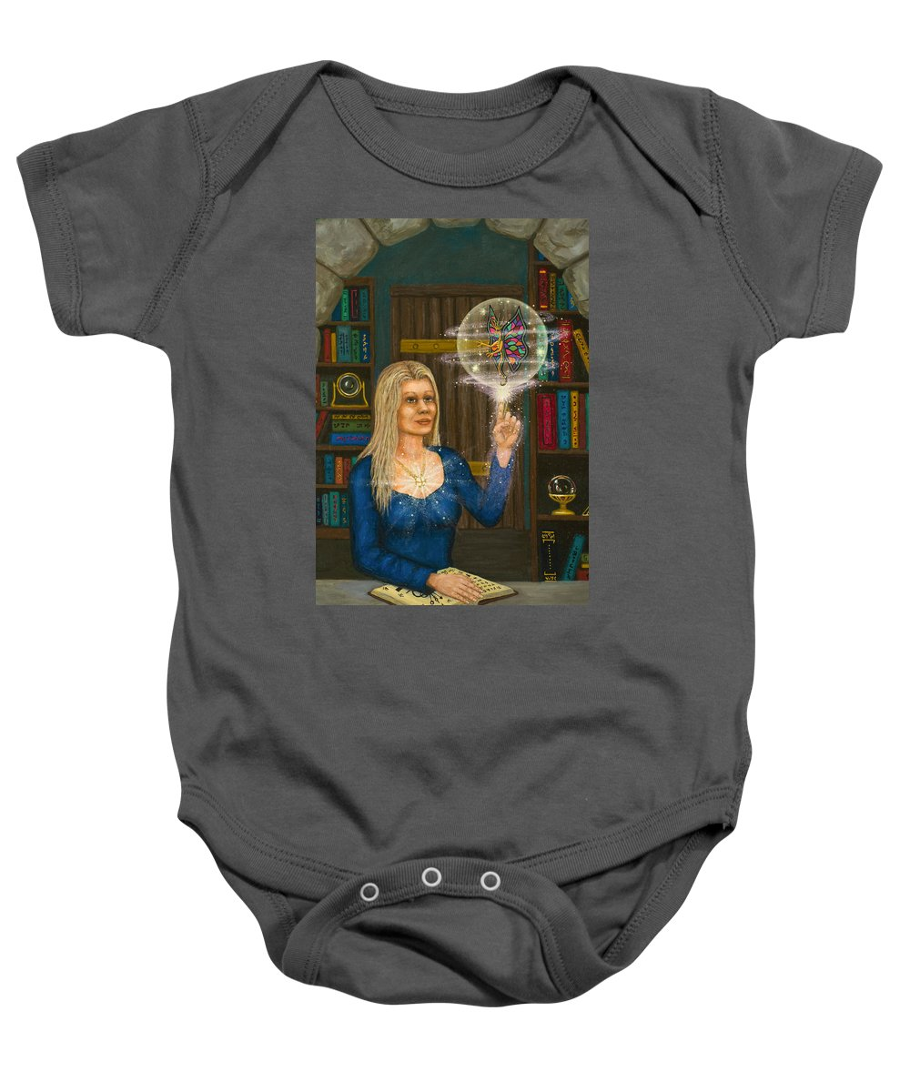 Magic Baby Onesie featuring the digital art Wizards Library by Roz Eve